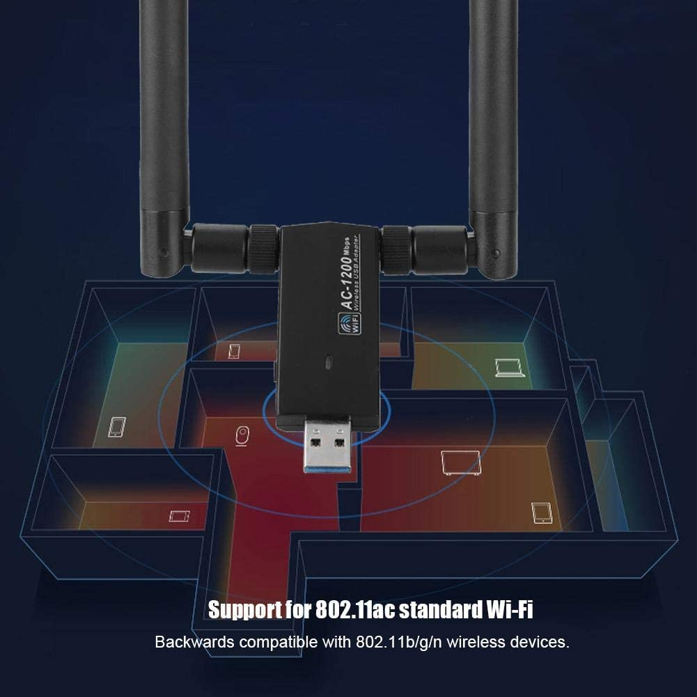 Bewinner USB Network Card,RTL8812AU AC USB 2.4G//5.8G Dual-Band WiFi Dongle Adapter,Support WPA//WPA2//WEP//802.1X//WMM Data Encryption,Wireless Network Card with Strong Anti-Interference Ability