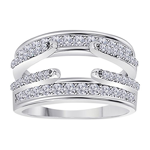Jewelryhub 14k White Gold Plated Combination Curved Style Cathedral Wedding Ring Guard Enhancer with Cubic Zirconia (1.10 ct. (Cathedral Ring Setting)