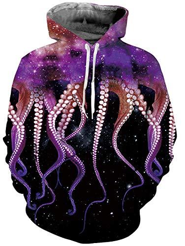 RAISEVERN Mens 3D Galaxy Printed 80s Pullover Long Sleeve Personalized Fleece Hooded Sweatshirts,2018 Style Octopus 01,Medium
