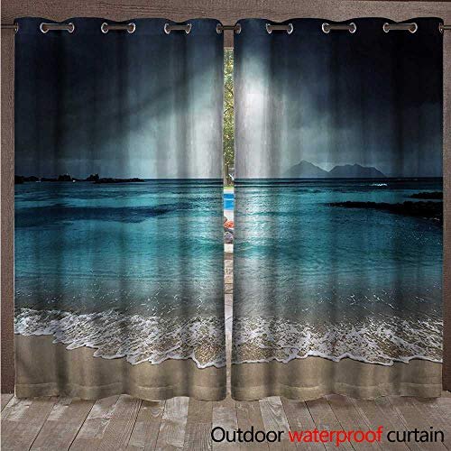 cobeDecor Tropical 0utdoor Curtains for Patio Waterproof Beach of La Dugue Island W108 x L84(274cm x 214cm)