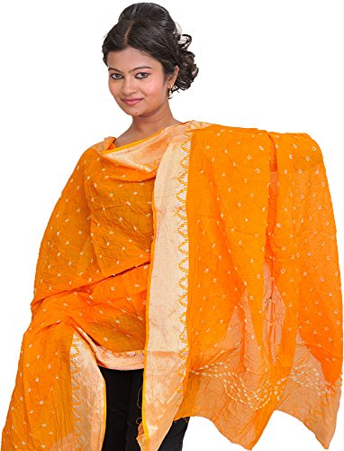 Exotic India Bandhani Tie-Dye Dupatta from Gujarat with - Color Apricot