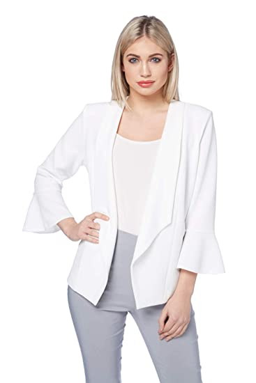 74c354afcda84a Roman Originals Women Fluted 3 4 Sleeve Waterfall Open Front Jackets -  Ladies Smart Short Tailored Blazer for Summer Casual Luxe Wedding Party  ...