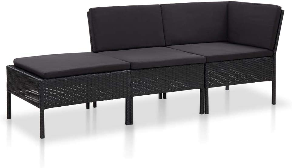 Tidyard Lounge Sofa Gartensofa 3-Sitzer Gartenbank Rattan ...