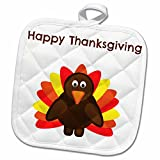 3dRose BrooklynMeme Happy Thanksgiving - Happy Thanksgiving with a picture of a cute turkey - 8x8 Potholder (phl_221875_1)