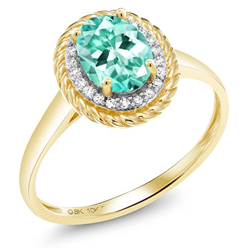 - Gem Stone King 1.34 Ct Oval Blue Apatite White Diamond 10K Yellow Gold Ring (Size 6)