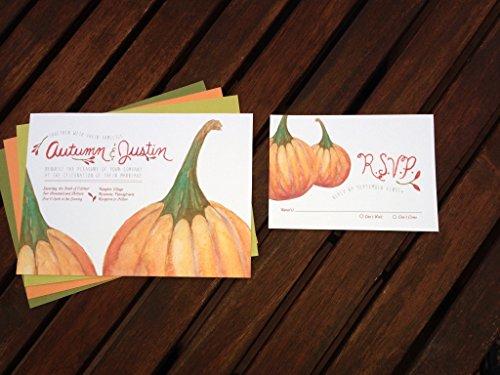 Pumpkin Wedding Invitation, Watercolor Wedding Invitation, Watercolor Invitation, Fall Wedding invitation, Autumn Wedding (Pumpkin Wedding Invitations)