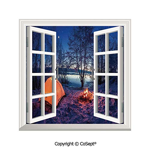 SCOXIXI Creative Window View Wall Decor,Dark Night Camping Tent Photo in Winter on Snow Covered Lands by The Lake,Window Stickers Have Beautiful Scenery(25.86x22.63 inch)