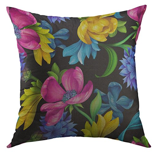 Cornflower Blue Natural - Mugod Pillow Cover Botanical Floral Natural Pink Yellow Tulip Blue Cornflower Green Leaves Wild Flowers Colorful Design Home Decorative Square Throw Pillow Cushion Cover 16x16 Inch Pillowcase