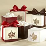 (Price/48 Pcs)Idoo Autumn Elegance Laser-Cut Fall Leaf Favor Box - Red & Brown