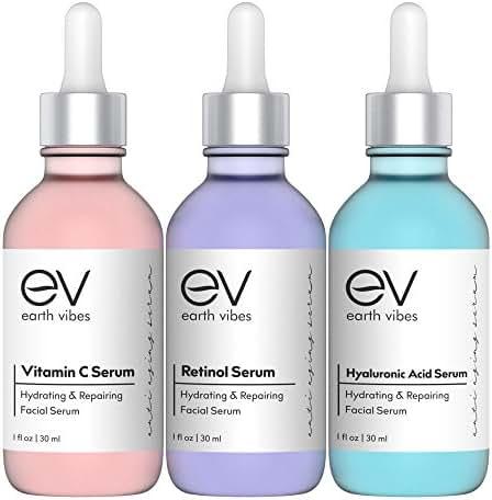 Anti Aging Serum Set - Skin Care Combo Pack - Vitamin C Serum - Retinol Serum - Hyaluronic Acid Serum - Anti Wrinkle Serums - Dark Circle & Spot Remover - Acne Scars, Age Spots - Brightening - (3x1oz)