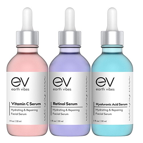 Earth Vibes Anti Aging Skin Care Set - Best Natural Anti Wrinkle Serum Set, Dark Spot Corrector, Reduce Hyperpigmentation, Acne Scars, Age Spots - Hyaluronic, Retinol, Vitamen C Serums - 3 X 1 Ounce