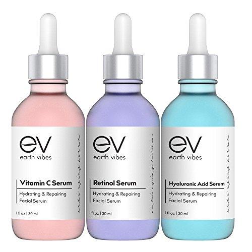 Earth Vibes Anti Aging Skin Care Set - Best Natural Anti Wrinkle Serum Set, Dark Spot Corrector, Reduce Hyperpigmentation, Acne Scars, Age Spots - Hyaluronic, Retinol, Vitamen C Serums - 3 X 1 Ounce