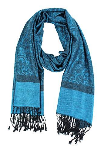 Paskmlna Paisley Jacquard Pashmina Shawl Wrap Scarf Stole (Blue0185)