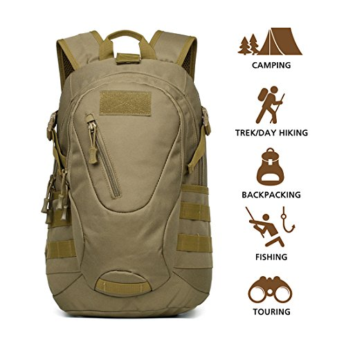 Hisea Outdoor Hiking Backpack 15L/25L – Durable Nylon Waterproof Daypack Tactical Military Backpacks MOLLE Rucksacks with Ergonomic Design for Cycling Camping Travelling Hunting