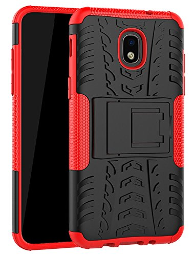 Galaxy J7 Refine Case,J7 V 2018,Galaxy J7 Top,J7 Crown,J7 Aero,J7 Aura,J7 Eon,J7 Star Case, Yiakeng Shockproof Protective with Kickstand Phone Cases for Samsung J737V,J737T (Red)
