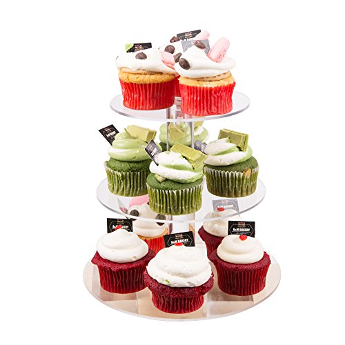 CO-Z 3-Tier Acrylic Round Cupcake Stand Tower fits 15x5cm Cupcakes for Wedding Party 5.9