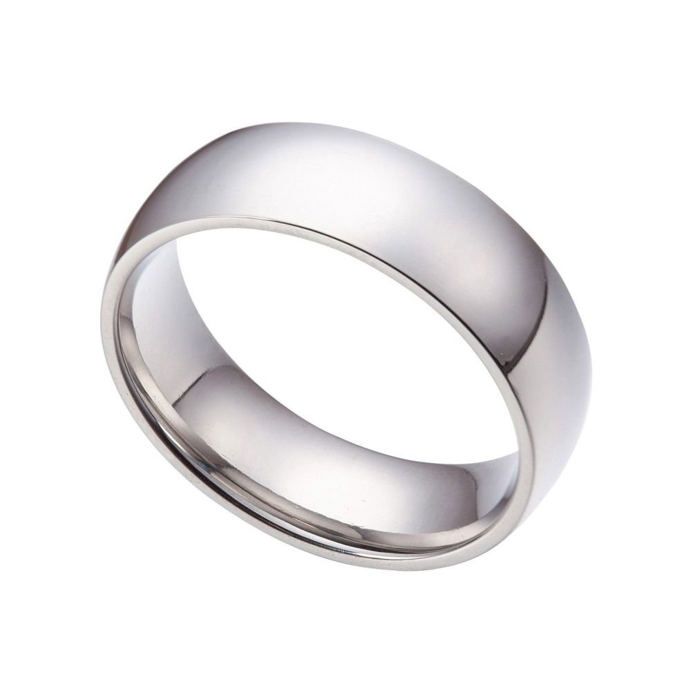 SANDRA Mens Jewelry 8mm Stainless Steel Wedding Band Ring Size 6-15 Half Size