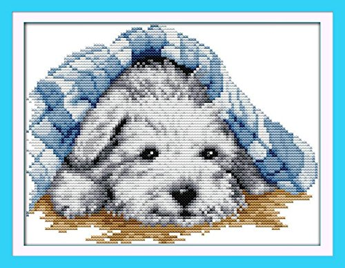 Joy Sunday Cross Stitch kits, Small lovely dog,11CT Printed, 35cm25 or 13.65