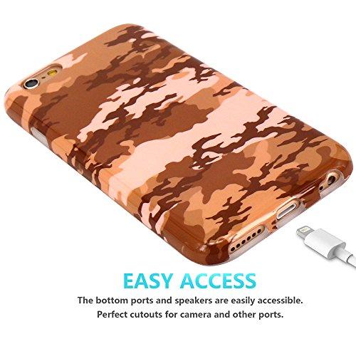 Coque iPhone 6 6S, JIAXIUFEN Silicone TPU Étui Housse Souple Antichoc Protecteur Cover Case - Jaune Camouflage Camo Désign