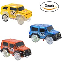 Magic Tracks Cars Replacement Light Up Toy Car Track Accessories Toys Racing Car with Flashing LED Lights Compatible with Most Tracks for Boys and Girls Best Gifts (3 pack)