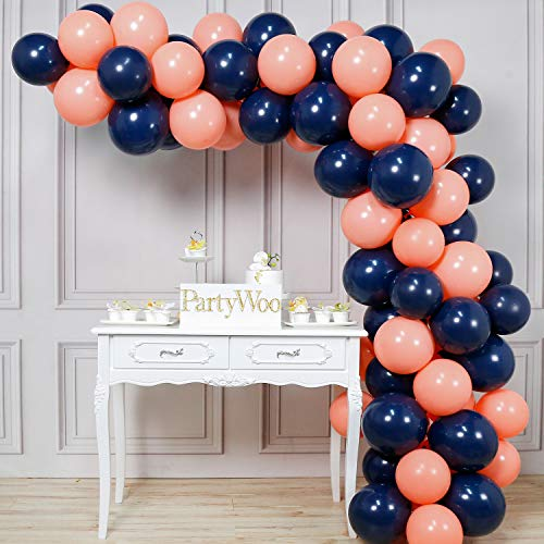 PartyWoo Party Balloons, 80 pcs 12 Inch Navy Blue Balloons Coral Balloons Peach Balloons Blush Balloons, Navy Party Decorations, Coral Birthday Decorations, Peach Wedding Decorations, Blush Decor