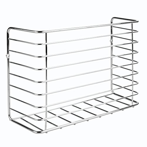 mDesign Wall & Cabinet Door Mount Kitchen Storage Organizer Basket Rack – Mount to Walls and Cabinet Doors in Kitchen, Pantry, and Under Sink – Solid Steel Wire with Chrome Finish by mDesign (Image #4)