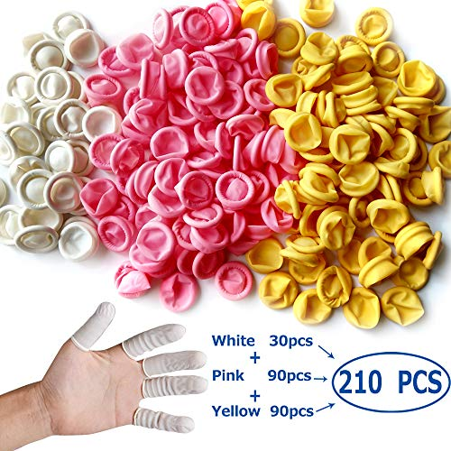 - Glittery 210 PCS Disposable Latex Finger Cots,Anti-Static Rubber Fingertips Protective Finger Cots (Mixed Colors)