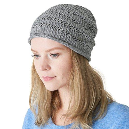 tural Hemp Beanie Linen Knit Hat Sweat Wicking Hipster Mesh Summer Light Grey ()