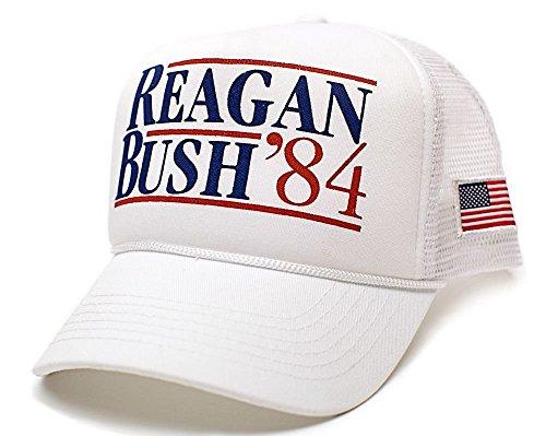 Reagan Bush 84 Hat Back To Back World War Champs USA Flag Unisex Adult Cap (White/White)