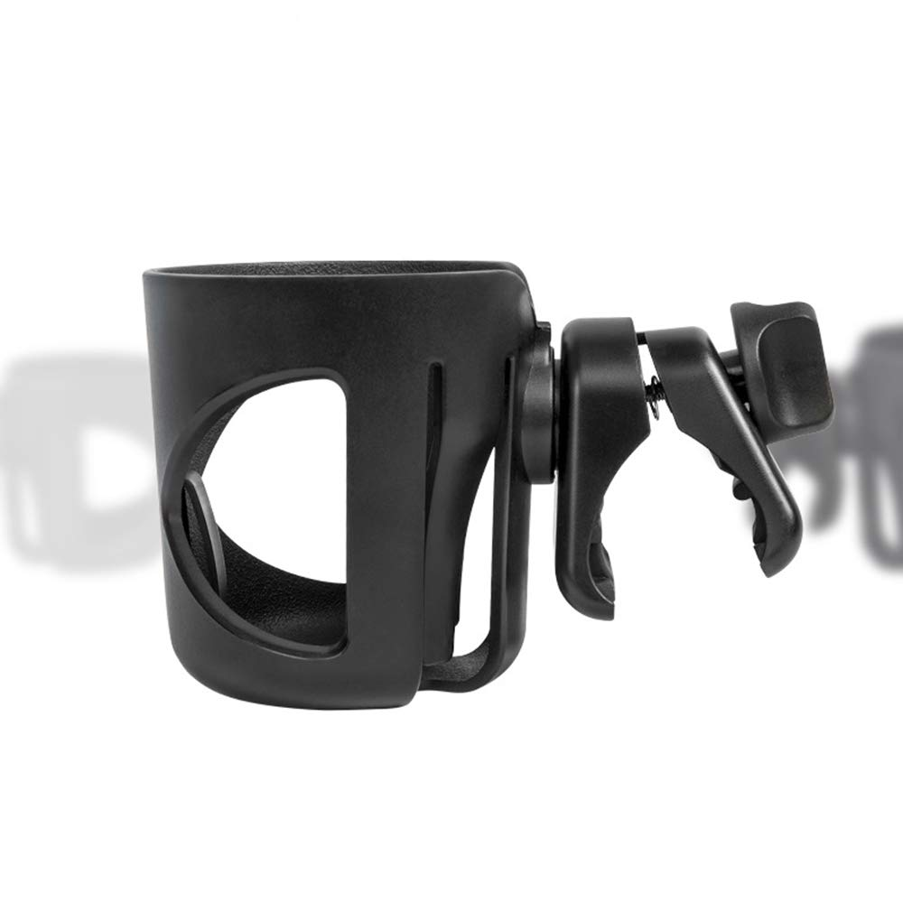 Baby Stroller Cup Holder Attachment Universal Bottle Holder Clip on Stroller Drink Holder for Baby Carriages Bike Wheelchair Chair Bicycle Outdoor Outside Adjustable Adjust The Angle (Black)