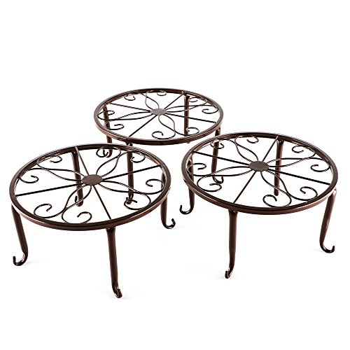 Metal 3 in 1 Potted Plant Stand Floor Flower Pot Rack/Iron rack (Bronze) by HowRU