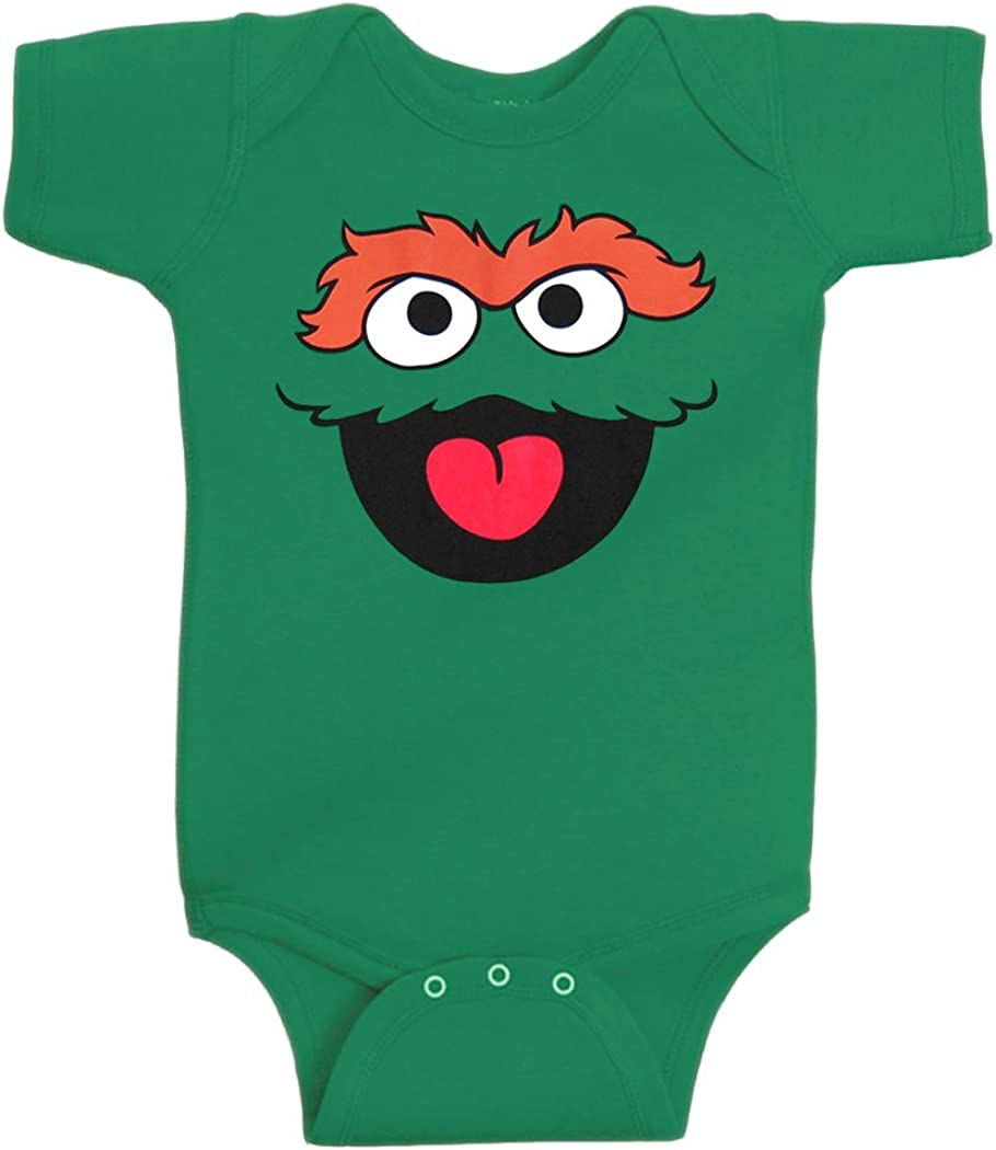Sesame Street Oscar The Grouch Face Infant Onesie Romper