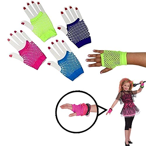 Gloves | Fishnet Fingerless Wrist Gloves |12 Packs | 6 Assorted Colors | Kids and Adults | Dazzling -