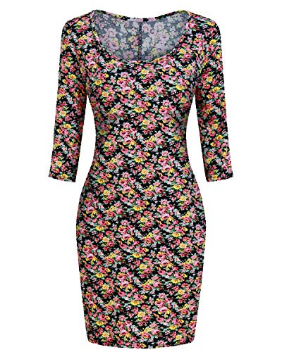 - Women's Casual Dress, Woman 3/4 Sleeve Basic Design Vintage Floral Printed Slim Tight Tunic Midi Pencil Dress Black Floral L