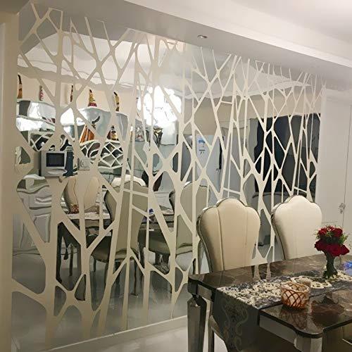 Vinilos De Pared Decorativos Salon Diy Creativo Patron Geometrico Superficie Del Espejo Para El Comedor Sala De Estar Decoracion De La Pared 3D Arte De La Etiqueta 50X18