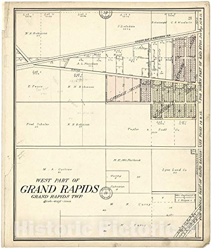 - Historic 1909 Map | Standard Atlas of Wood County, Wisconsin | West Part of Grand Rapids 38in x 44in