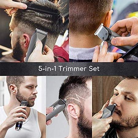 Aigostar Maquina Cortar Pelo,5 en 1 Cortapelos Hombre de Precisión Cortadora Nariz Oreja Ceja Barba Vello para Hombres Maquina de Afeitar
