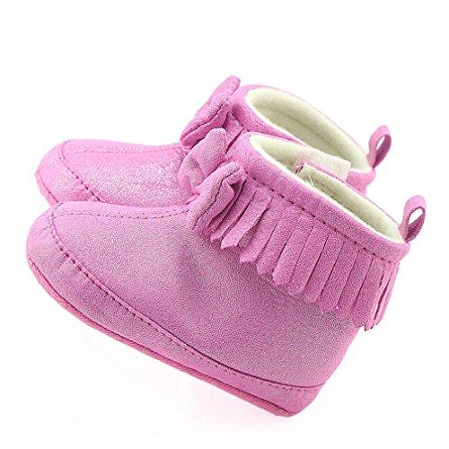 Hunpta Kleinkind Neugeborene Baby Girl Girl Crib Bowknot Stiefel Prewalker Warm Martin Schuhe Hot Pink