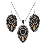 Montana Silversmiths Sunset Prairie Teardrop Jewels Pinpoint Jewelry Set - Silver Rose Gold Black