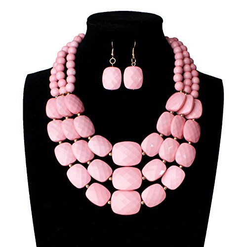 118 Costume 80s (Nigeria Wedding african beads jewelry set 9 color acrylic beads making choker necklace set for women MOON GIRL statement (light pink))