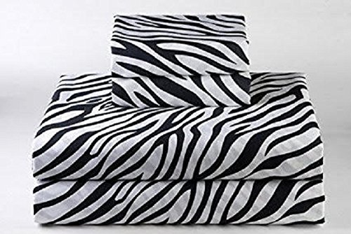 Cotton Egyptian Cotton Print (600 Thread Count Luxurious 100% Egyptian Cotton Set of 4 Pcs (1 Fitted sheet,1 Flat Sheet, 2 Pillows covers) by Rajlinen (Zebra Print, Short Queen 60