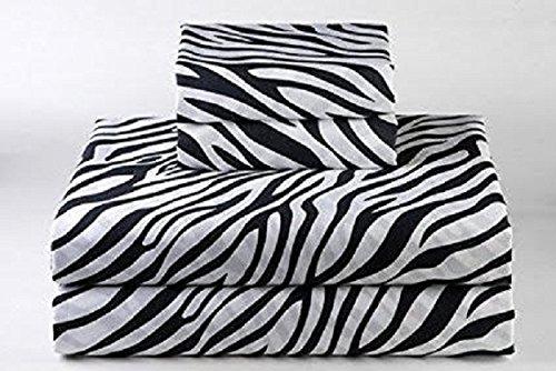 600 Thread Count Luxurious 100% Egyptian Cotton Set of 4 Pcs (1 Fitted sheet,1 Flat Sheet, 2 Pillows covers) by Rajlinen (Zebra Print, Short Queen 60