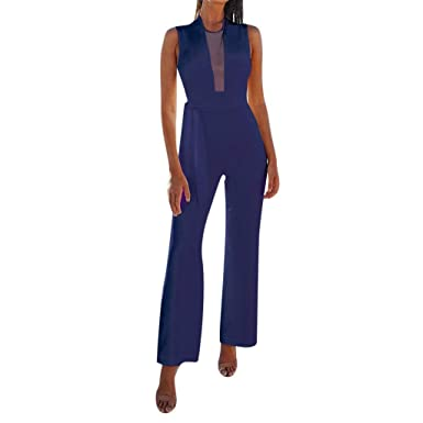 103019b7bd0 New Women Sexy Jumpsuits Formal Sleeveless V-Neck Halter Wide Leg Long  Pants Sleeveless Slim