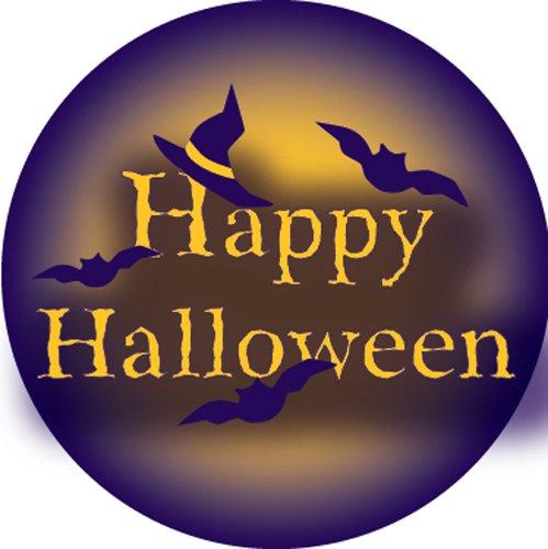 Ace Label 18189C 'Happy Halloween' Teacher School Stickers, 2-1/2-Inch, Purple/Yellow, Roll of 100 ()
