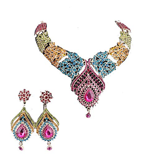 Women's Elegant Austrian Crystal Statement Necklace Earrings Jewelry Set for Wedding Dress and Boxes (Gold Colorful)