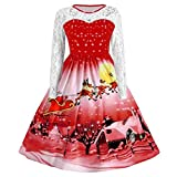 WOCACHI Final Clear Out Christmas Dresses Women Lace Vintage Long Sleeve Party Dress Swing Dress A Line Bodycon Vintage Xmas Evening Prom Costume Maxi Mini Knee Length (Red, X-Large)