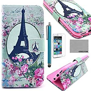 SOL COCO FUN? Rose Flower Eiffel Pattern PU Leather Case with Screen Protecter, Stand and Stylus for iPhone 6 6G 4.7 , Multicolor