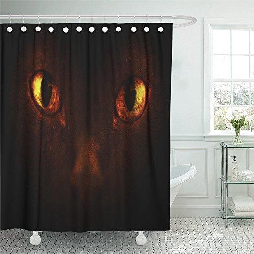 Emvency Shower Curtain Set with Hooks 66x72 Black Demon of Burning Demonic Eyes Orange Evil Beast Werewolf Halloween Spooky Bathroom]()
