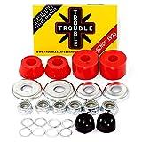 Trouble Bushings for Skateboard Trucks • Medium 96A • Cushion Rebuild Bushing Kit • Red/Silver (BM2)