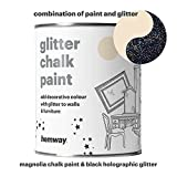 Hemway Magnolia Chalk Paint (with Black Holographic Glitter) Sparkle Matt finish Wall and Furniture Paint 1L / 35oz Shabby Chic Vintage Chalky Crystal (25 Glittery Colours Available)